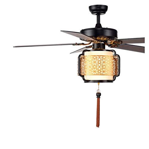 Chinesische Deckenventilator Licht Holz Leaf Laterne Fan Kronleuchter Wohnzimmer Esszimmer Fan Licht mit Licht Deckenventilator (Color : A, Größe : 52in-Wall Control) - Licht Helles Deckenventilator