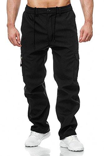 Herren Cargo Hose Arbeitshose Gefüttert Workwear H2000, Farben:Schwarz, Größe Hosen:M
