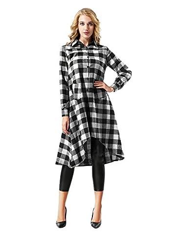 Yidarton Chemise Femme Carreaux Robe Manches Longues Casual Blouse Shirt Chemise Longue Avec Poches (X-Large, Noir&Blanc)