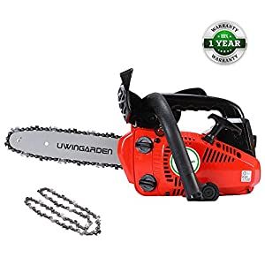 """UWINGARDEN Petrol Chainsaw + 2 x Chains, Saving Oil Up To 50%, 25.44CC, 10"""" Professional Handed Chain Saw. 5"""