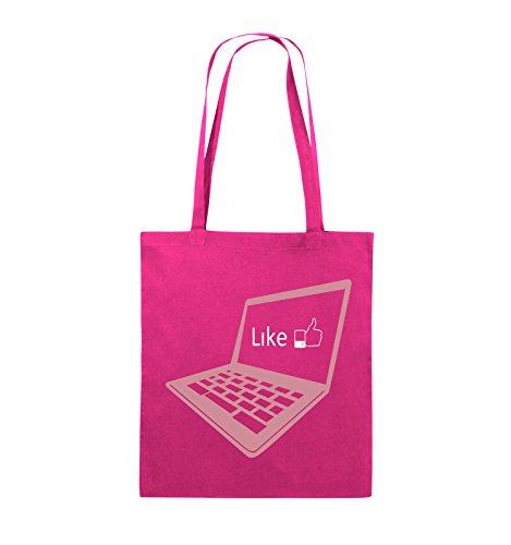 Comedy Bags - I like laptop - Jutebeutel - lange Henkel - 38x42cm - Farbe: Schwarz / Weiss-Neongrün Pink / Rosa-Weiss