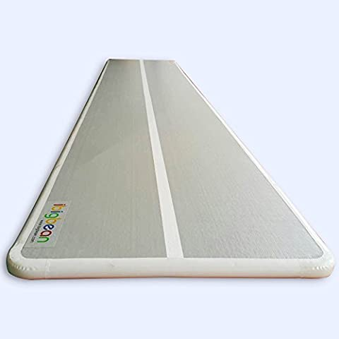 ibigbean Inflatable Gymnastics Mat Professional PVC Drop Stitches Material Grey Surface-White side-White strip Custom Length (5.6ft W x 4in H)