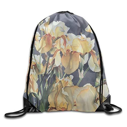 Floral Iris Art Unisex Outdoor Gym Sack Bag Sport Drawstring Backpack Bag
