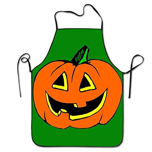 Art Halloween Pumpkin Lantern Schürzen Lätzchen Unisex Lace Adjustable Polyester Cleaning Serving Blue Apron