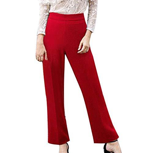 lide Mid-Taille Plus Größe Lose Gerade Beiläufige Lange Hosen(XXXXXL,rot) ()