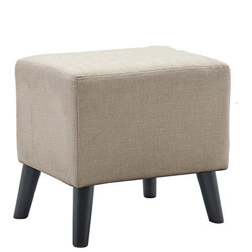 Yq whjb poggiapiedi imbottito,moderna sgabello poggiapiedi,quadrata divano basso letto panca fine panno ottomano cambiare scarpa panchina-4 gambe in legno-cachi