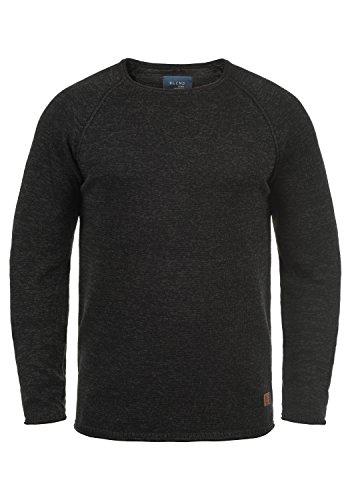 Blend Dan Herren Strickpullover Feinstrick Pullover mit Rundhals und Melierung, Größe:M, Farbe:Black/Charcoal (71527)
