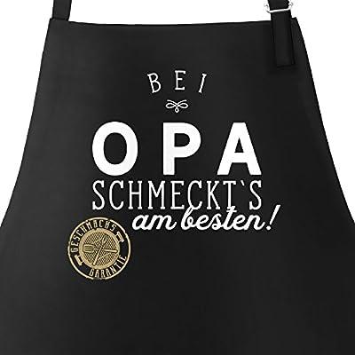 MoonWorks Grill-Schürze Küchenschürze mit Spruch Bei Schmeckt`s Grillen Kochen Baumwoll-Schürze Küchenschürze