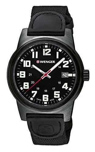 WENGER - 01.0441.140 - Montre Homme - Quartz - Analogique - Aiguilles lumineuses - Bracelet cuir noir