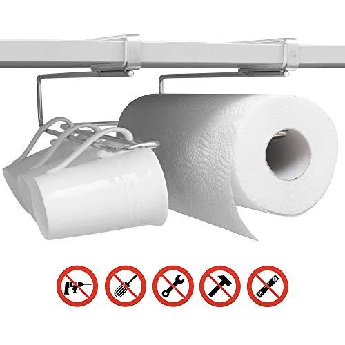 MisterMountain® Universal Küchen Organizer - Premium Küchenhelfer aus Edelstahl ohne Bohren oder Schrauben - Tassenhalter, Utensilienhalter, Küchenrollenhalter