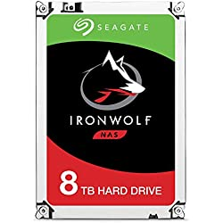 Seagate 8 TB IronWolf 3.5 Inch 7200 RPM Internal Hard Drive for 1-8 Bay NAS Systems (256 MB Cache, 180 TB/Year Workload Rate, Up to 210 MB/s) - Silver