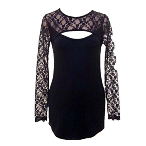Vovotrade ❤❤Heiß !!! Sexy Frauen schnüren sich O-Ansatz langes Hülsen T-Shirt Schwarz Schwarz