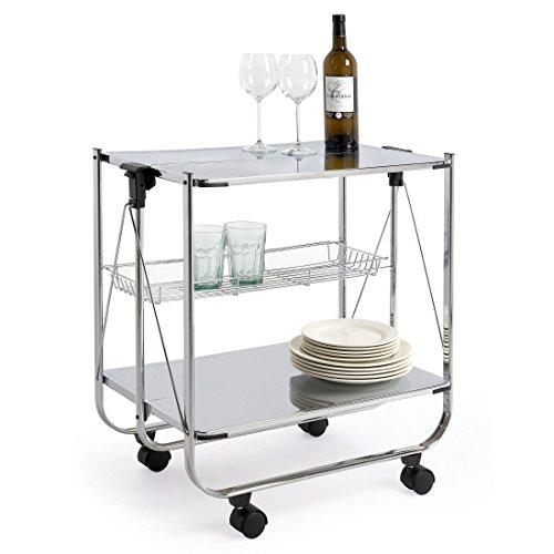 abc HOME living Servierwagen | Rollwagen | Küchenwagen | verchromt, Stahl, Chromfarben, 64 x 40 x 69 cm