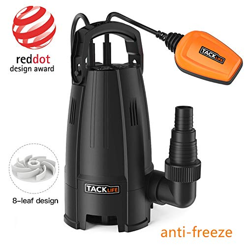 TACKLIFE Submersible Anti-Freeze Water Pump, 400W 9000 L/h Clean Dirty Water, 8-Blade impellers, Max Granule 25 mm, Height 5 m, Maximum Depth 6 m, Cable 10 m, Heavy Duty Float Switch GSUP2B