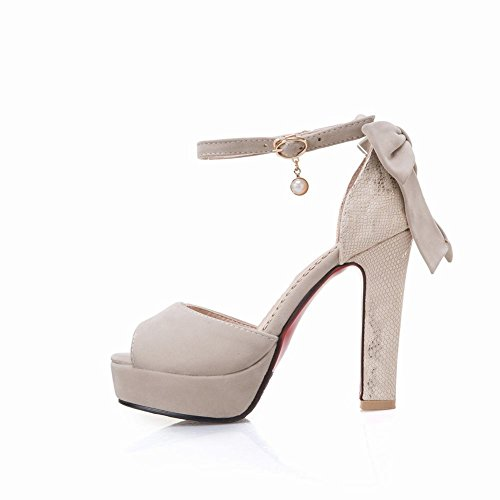 Mee Shoes Damen Peep toe Trichterabsatz ankle strap Pumps Beige