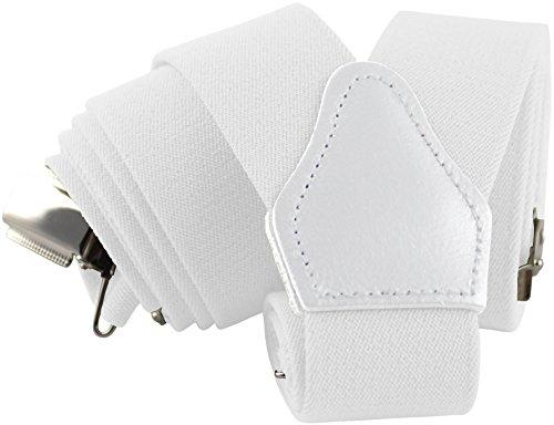 Herren-hosenträger (Herren Hosenträger Weiß mit Starken Clips Y-Form | Sencillo Retro Outfit | Weißer Hosenträger)