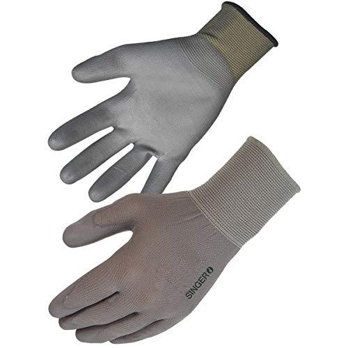 Singer Paire de gants polyuréthane (PU). Support polyester sans couture. Jauge 13 NYM713PUG. Taille 10