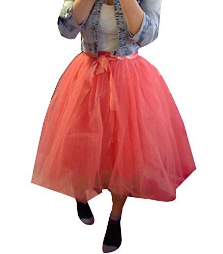 Gonna da donna di tulle a 6 strati Sottogonne al Ginocchio Retro Petticoats Vintage WMRosso