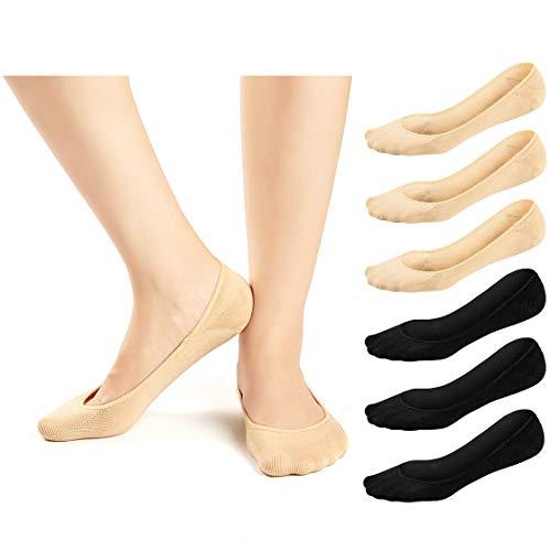 JaosWish Damen Socken No Show Ultra Low Cut Liner Socks Anti-Rutsch Unsichtbare Socken für Loafer Boot Flats 6 Paar Gr. Einheitsgröße, 6 Pairs - 3 Nude + 3 Black