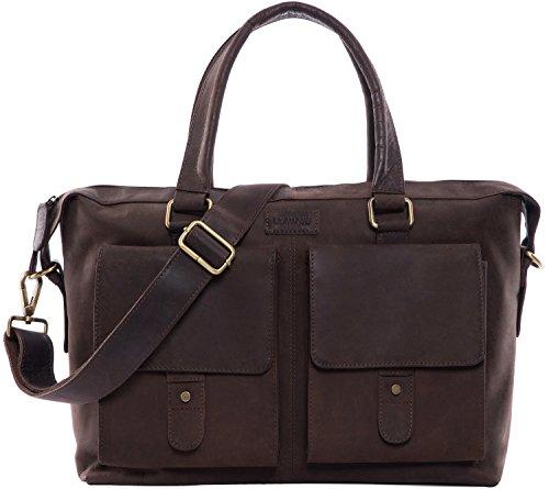 LEABAGS Glasgow Handtasche aus echtem Büffel-Leder im Vintage Look - Muskat Muskat