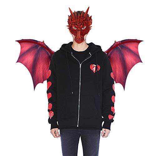 Innerternet Realistische 3D-Drachenmaske,Halloween Karnevalsparty spielt Dekoration Dinosaurio Dragon Kostüm Cosplay Tiermaske Flügel Zubehör mit Drachenflügel (Offizielle Scream Kostüm)