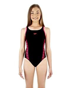Speedo Mädchen Badeanzug I2 Monogram Muscleback, schwarz/pink, 140, 8087478541