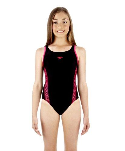 Original Speedo Monogram Muscleback Mädchen Badeanzug schwarz/pink, Größe:116
