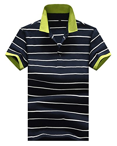 Homme T-Shirt Polo Rayures Manche Courte Col à Boutons Chemise Poloshirt Haut Tops