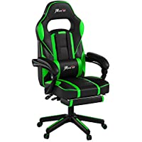 JR Knight LC-04BKBL Ergonomic Gaming Chair With Footrest, Proffessional Gamer Design Home Office Computer Executive Swivel Racing Chair, PU Leather Padding Desk Chair With Recliner