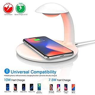 Oeegoo Led Nachttischlampe Dimmbar mit Kabelloses Induktions Ladegerät, Touch Control Augenfreundlich Kid Nachtlampe mit RGB Farbwechsel Stimmungslicht, 10W/7.5W Wireless Charger für Samsung/iPhone.