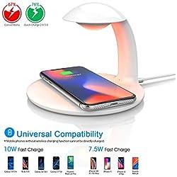 Oeegoo Lampe de chevet LED à intensité variable avec chargeur sans fil à induction, Touch Control - changement de couleur RVB - 10 W/7,5 W - Compatible Chargeur sans fil pour Samsung/iPhone