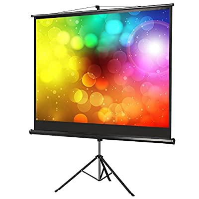 "Popamazing Adjustable Projection Screen For School Theatre Cinema Home Tripod Projector Screen -( 86"")175cm(w) X 131cm(h) Portable Freestanding Easy Carrying with Stand - 4:3 Screen (Black)"