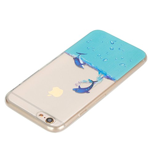 Coque iPhone 6 Silicone, LuckyW Housse Etui TPU Silicone Clear Clair Transparente Gel Slim Case pour Apple iPhone 6 6S(4.7 pouces) Soft de Protection Cas Bumper Cover Converture Anti Poussières Couver manchot