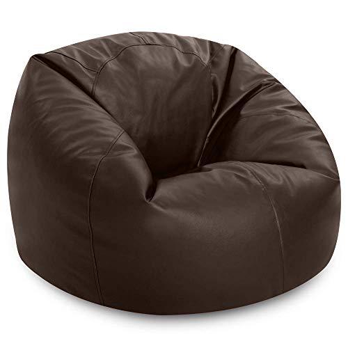 Bean Bag Bazaar Klassischer Sitzsack aus Kunstleder, Braun, 85cm x 50cm, Sitzsäcke für Erwachsene, Groß, Sitzsäcke für das Wohnzimmer