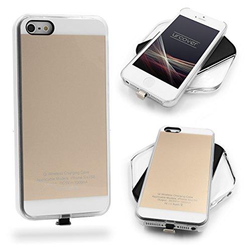 URCOVER Custodia Protettiva Wireless Qi Apple iPhone SE 5 5s | Cover Backcase Bordo in TPU Scocca Rigida | Cover Morbida Carica a Induzione in Argento | Ricevitore Qi Integrato Oro