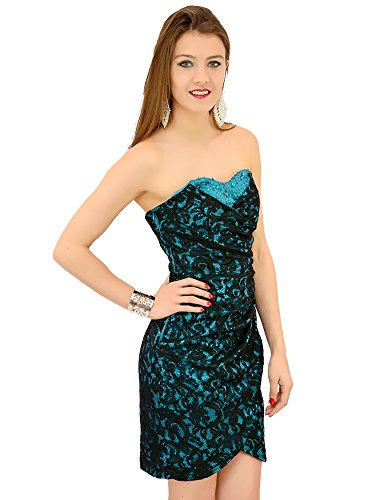 Robe Bustier dentelle contrastante Turquoise Turquoise