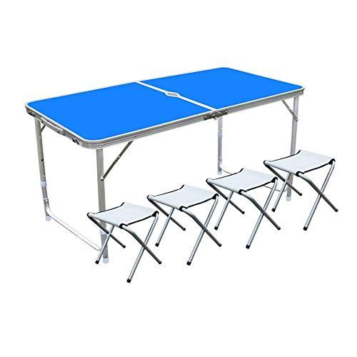Tables CJC Chaises Selles Set Ultraléger Portable Ajustable Hauteur Repliable Camping Jardin Fête BBQ Travail Devoirs (Couleur : Bleu)