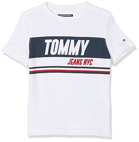 Tommy hilfiger ame sporty block panel tee s/s, t-shirt bambino, bianco (bright white 123), 128