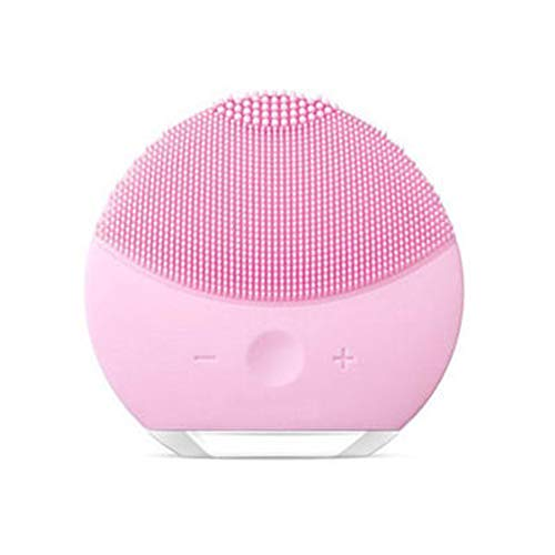 Gesichtsreinigungsbürste Wasserdicht Tragbare Vibrierende Gesichtsbürste Silikon Gesichtsmassagegerät Anti-Aging Hautreinigungssystem für Alle Haut-Pink