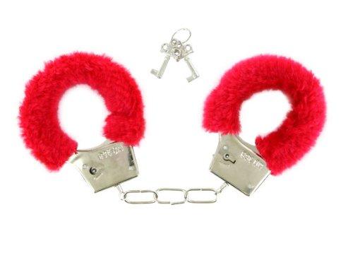 Handschellen mit roten Plüsch Polstern u. 2 Schlüsseln