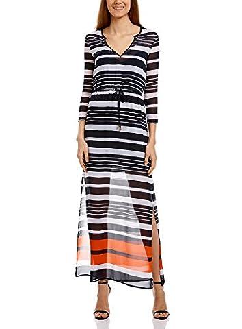 oodji Collection Damen Sommerliches Maxi-Kleid aus Chiffon mit Seitenschlitzen, Weiß, DE 44 / EU 46 / XXL