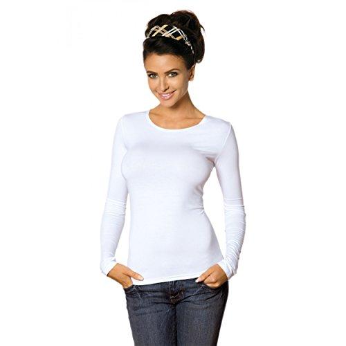 Damen Longsleeve Basic Shirt Stretch-Viskose Langarmshirt Rundhals Top, Gr.-36/38 - M,Weiß