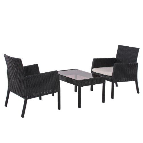 Mendler Poly-Rattan Garten-Garnitur Sitzgruppe Sanremo 2x Sessel + Tisch ~ anthrazit