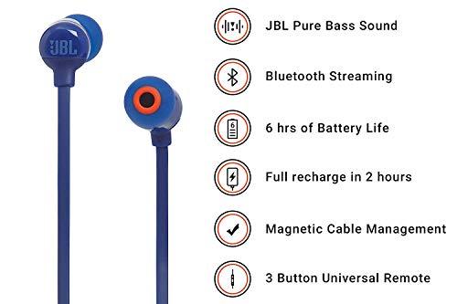 JBL T110BT Cuffie In-Ear Wireless, Auricolari Bluetooth senza Fili Magnetici con Microfono e Comando a 3 Pulsanti, per Musica, Chiamate e Sport, fino a 8 h di Autonomia, Blu - 2