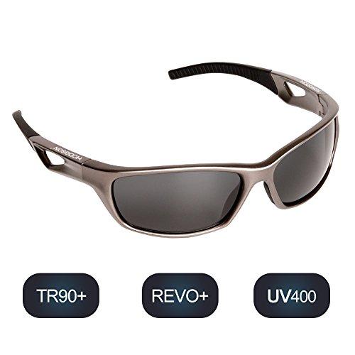 hodsgon Polarisierte Sportbrille Sonnenbrille Fahrradbrille mit UV400 Schutz für Damen und Herren Autofahren Laufen Radfahren Angeln Golf TR90 (Gray/Gray)