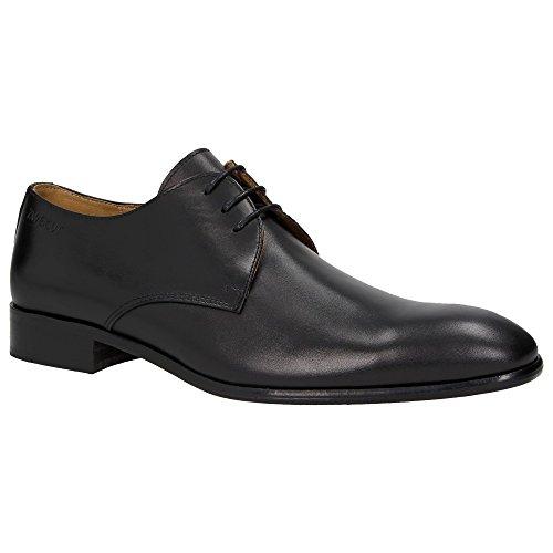 Zweigut® -Hamburg- smuck #250 Herren Business Schuhe Vollleder Derby Schnürschuhe, Schuhgröße:42, Farbe:schwarz