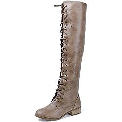 AgeeMi Shoes Mujer Cordones Mini Tacón Sólido Caña Alta Botas,EuX26 Marrón 40