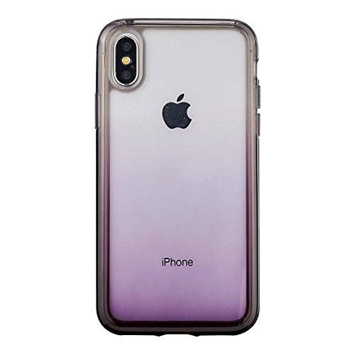 daruma Klar Schutzhülle für iPhone X Lila transluzent Dämpfenden Fall Farbverlauf Line Ultra Light Slim Cover Lila Iphone Fall
