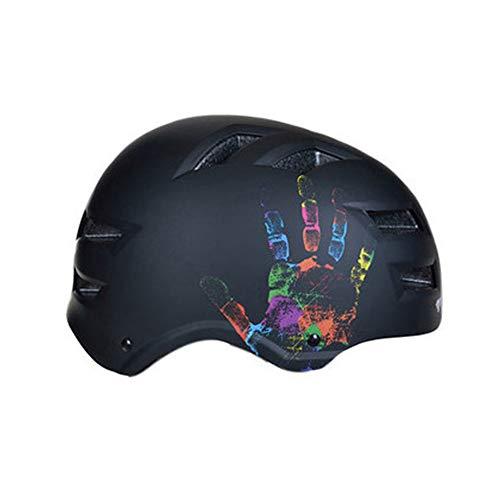 Schutzkappen Cycling Knights Multifunktions-, Erwachsenen-Skateboardhelm Fahrrad-Reitausrüstung Helm Skating Rollschuh Schutzhelm Ausrüstung,-Black-M