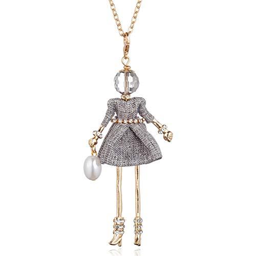 l Puppe Anhänger Halskette Für Frauen Baumwolle Kleid Metall Strass Gürtel Lange Kette Halskette Perle Handtasche Schmuck Halsketten ()